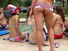 Audrey Bitoni, Danny Mountain  A pool party with Audrey Bitoni