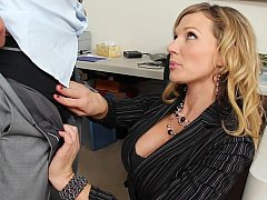 Nikki Sexx, Johnny Castle  Blonde co-worker apologizes to him and offers her pussy