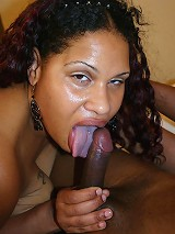 Pretty ebony BBW shows off her thick booty and working a cock with her pouty lips