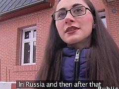 Czech Brunette Amateur Sucks In Public