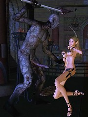 Lady got bound and got screwed by Hentai Demon