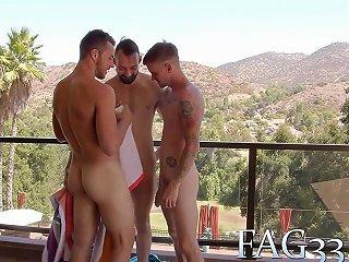 Three Buddies Fucking After Fun In Pool