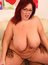 Huge bbw Peaches playing with her massive racks while humping on top of a black stud