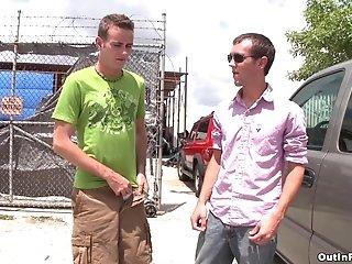 Mathew Singer Fucks His Gay Buddy In A Garage In Public