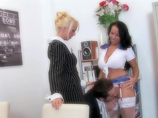 Erotic Babes Take Turns To Ride Their Demanding Swollen Pussies Against Champ's Hard Pecker