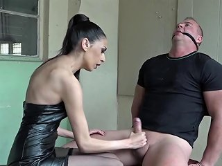 Beautiful Domina Gags And Cuffs Sub For Hard Jerk Off Porn Videos