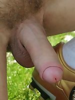 Cute guy with awesome body poses naked on a field and gets horny while playing with a soccer ball