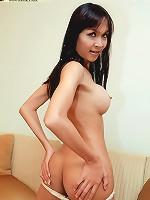 See shy Asian shemale unleash her seaman