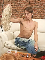Sexy x-dressed hunk Laureano jerking off on the sofa