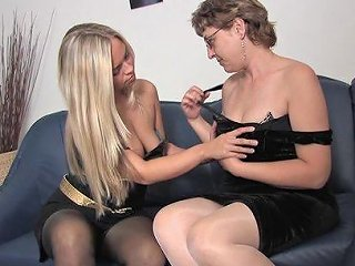 Hypnotic Mature Lesbian In Stockings Refined Using Nice Toy