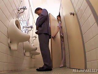 Sayoko Blows A Guy In A Public Restroom