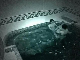 Naughty Lesbian Threesome In The Pool Caught By Security Cam