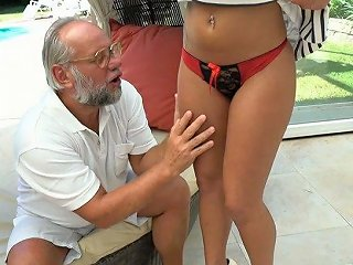 Blond Chick With Juicy Tits Angelina Julie Hooks Up With One Old Fart