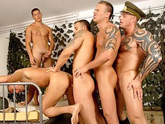 Several muscle studs in hot group gay anal fucking movies