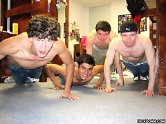4 hot horny college boys get tricked into sucking and fucking eachother in these hot bathroom dorm group sex xxx pics
