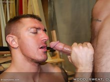 Two hot hairy muscle fuckers with quite the sexual appetite decide its time to give their woodwork a break and start feeding each other their thick co