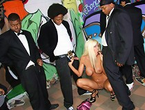Busty cougar uses her mouth to get off nearly a dozen black guys