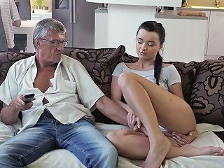 Slender Girl Erica Gets No Attention From Her Bf And Lures Older Man For Fuck