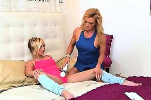Hot Mom And Teen Pleasuring Each Others Pussies On The Bed