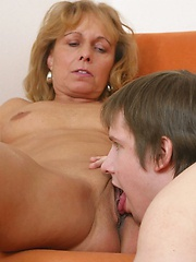 Old wench moans from passionate pussy eating.