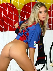 Sexy soccer star Jana gets naked in the net
