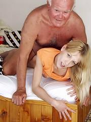 Teen blonde gets boinked grandpa