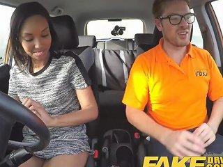 Fake Driving School Pretty Black Girl Seduced By Instructor
