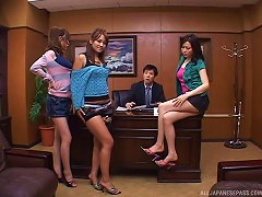 Japanese Office Milf Bitches Change Into Their Latex Outfits
