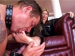 He Licks The Feet Of The Latex Woman