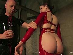 Mistress In Red Latex Bodysuit Tortures Guy's Dick
