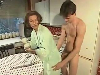 Boy Helps Mommy With The Dishes German Classic