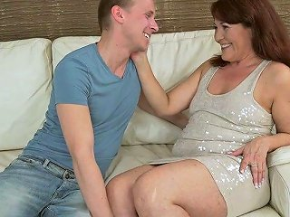 Kinky Young Dude Enjoys Fucking Old Bitch With Hairy Cunt Red Mary