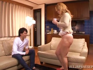 A Younger Guy Feeds His Cock To A Sexy Japanese Milf