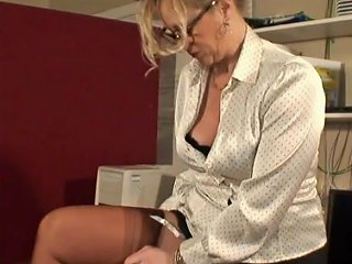Sexy Stocking Teasing Milf In Busy Office