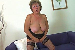 Golden Dildo Makes The Big Tits Granny Feel Good