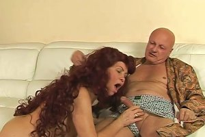 Salty Brunette Slut Pleases An Old Couple In Threesome Sex Orgy