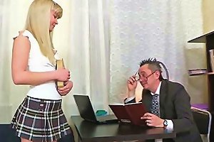 Blonde Teen Babe Gets Her Shaved Pussy Spanked By A Teacher