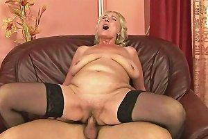 Blonde Grandma With Huge Saggy Tits Fucks A Stud