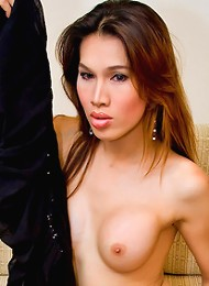 Leggy t-girl Jene poses sexy...