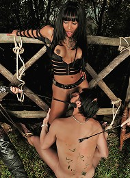 Submissive commanded by a trio of ts dommes