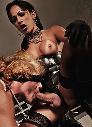 Submissive captured and used by shemale dommes