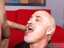 Older daddy Jake pleases a hot hairy guy Mike orally