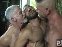Three mature hairy gay men have hot group sex