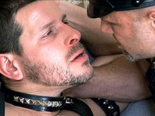 Hairy mature men in leather play some hot fetish sex game